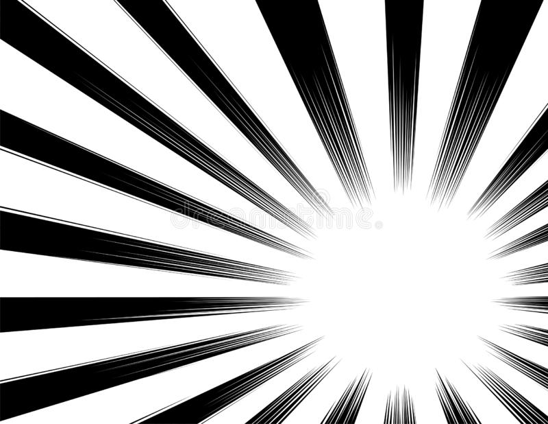 Comic and manga books speed lines background. explosion background. Black and white vector illustration / color version. On white stock illustration