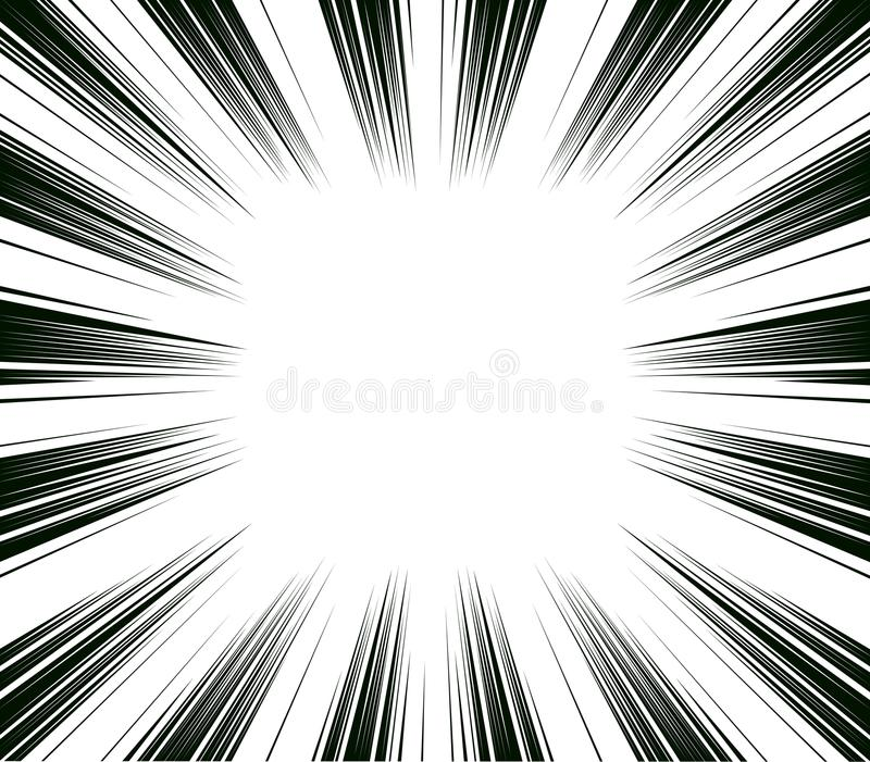 Comic and manga books speed lines background. Superhero action, explosion background. Black and white. Illustration vector illustration