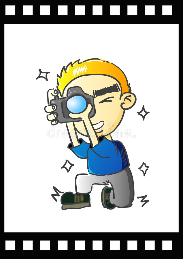 Download Comic photographer stock vector. Image of isolated, lens - 6448085