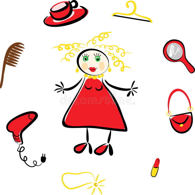 Comic picture of the girl and her things. Comic image blonde and a set of cosmetic items vector illustration
