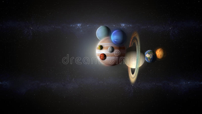 Comic planets flying into the space abstract universe vector illustration