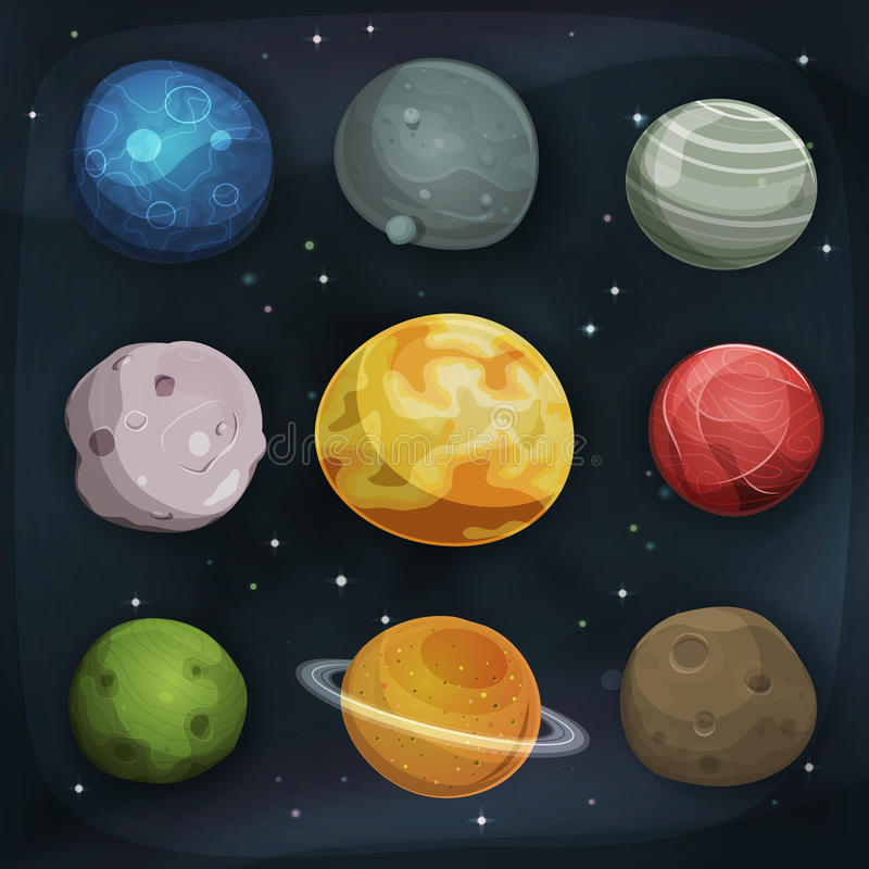 Comic Planets Set On Space Background vector illustration