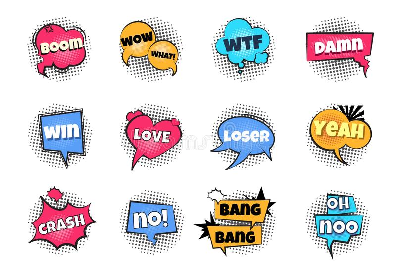 Comic pop art bubbles. Cartoon text balloon wow explosion sticker fun speech bubble comics retro cloud boom bubble vector illustration