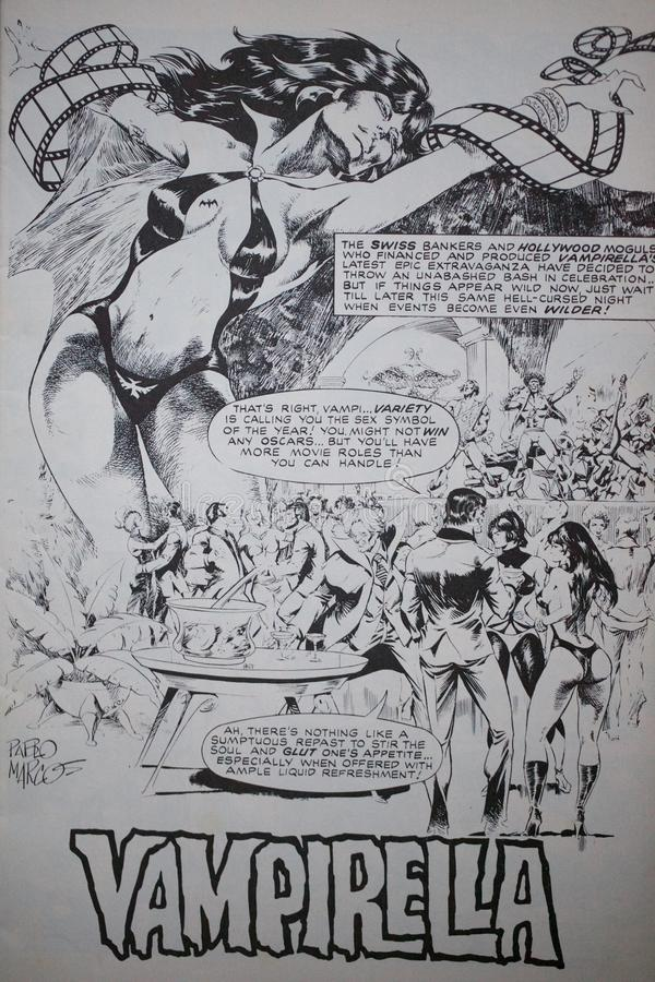 Comic of popular sexy vampire comic book character Vampirella. Created by Forrest J Ackerman and comic book artist Trina Robbins in Warren Publishing`s black stock photography