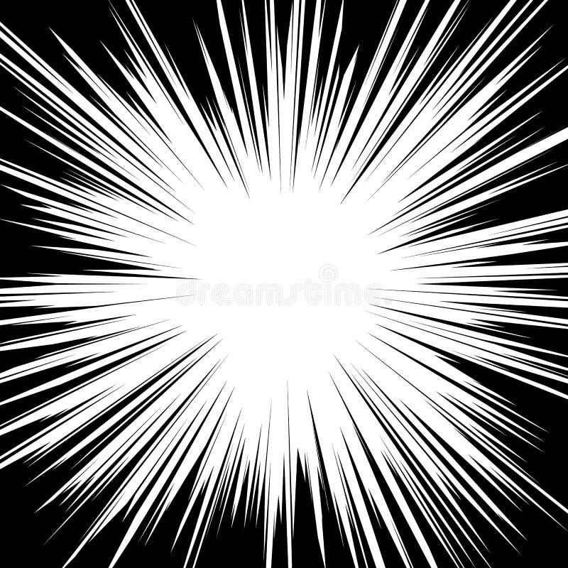 Comic radial speed lines background. Manga speed frame. Cartoon explosion background Superhero action. Vector illustration.  royalty free illustration