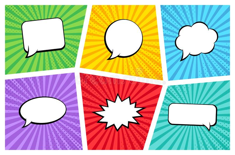 Comic rays with speech bubbles set. Comic superhero bubble. Comics page layout. Rays, radial, halftone. Vector illustration.  royalty free illustration