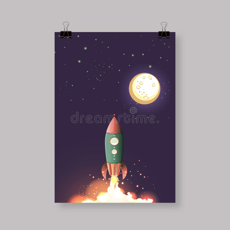 Comic Rocket Ship / Illustration of a cartoon retro iron spaceship blasting off and flying. Trendy Design Vector eps 10 royalty free illustration