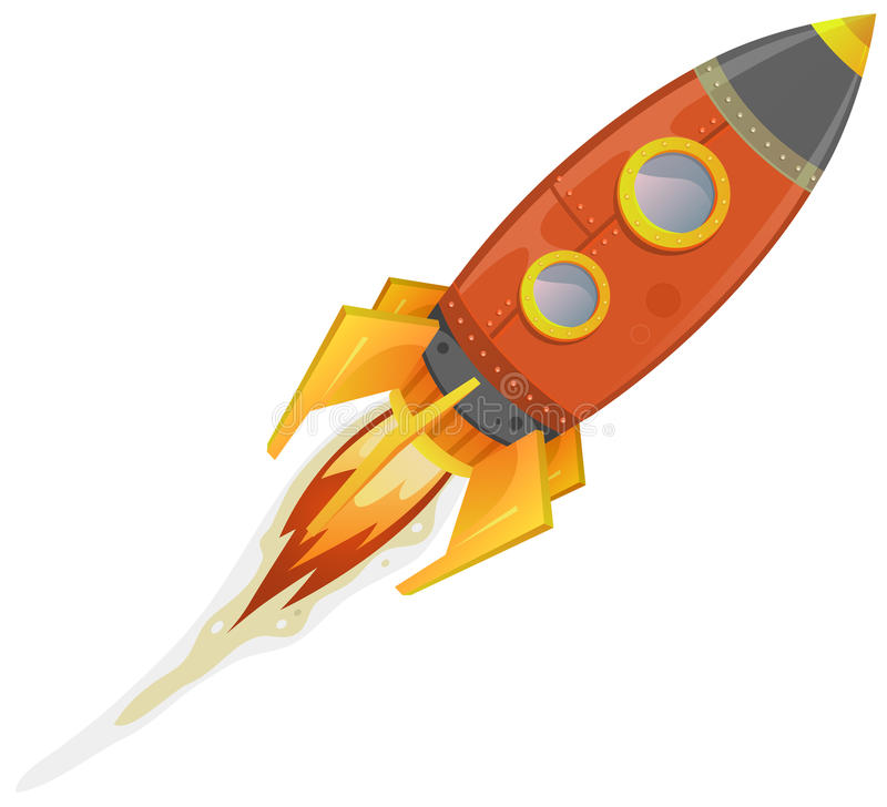 Comic Rocket Ship stock illustration