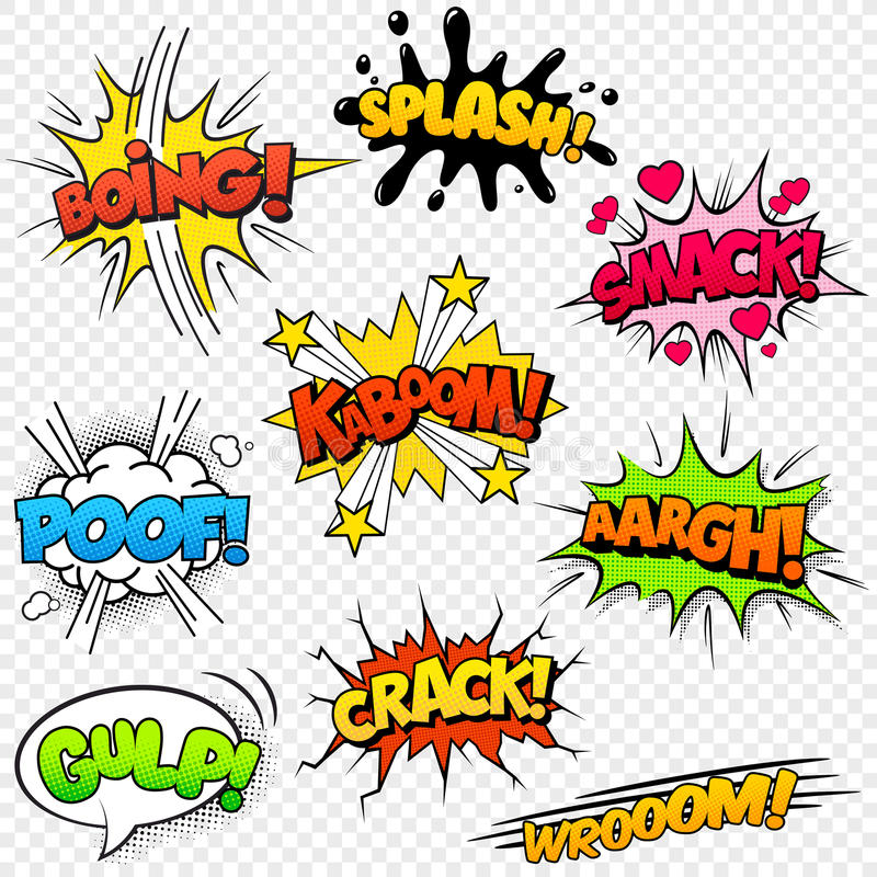 Comic Sound Effects. Collection of nine multicolored comic sound Effects