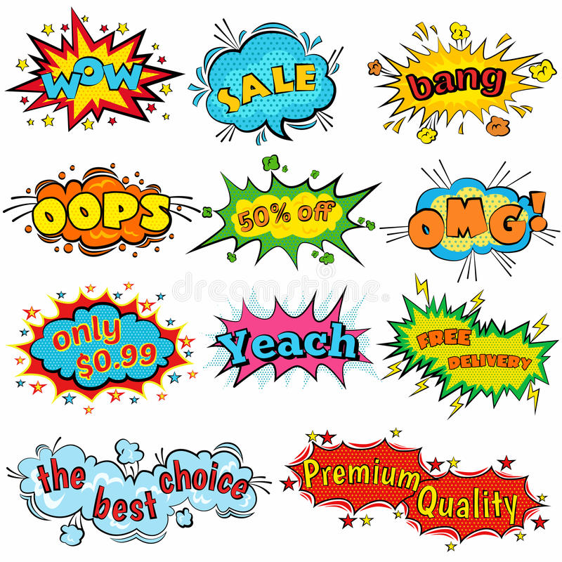 Comic sound effects in pop art vector style. Sound bubble speech with word and comic cartoon expression sounds stock illustration