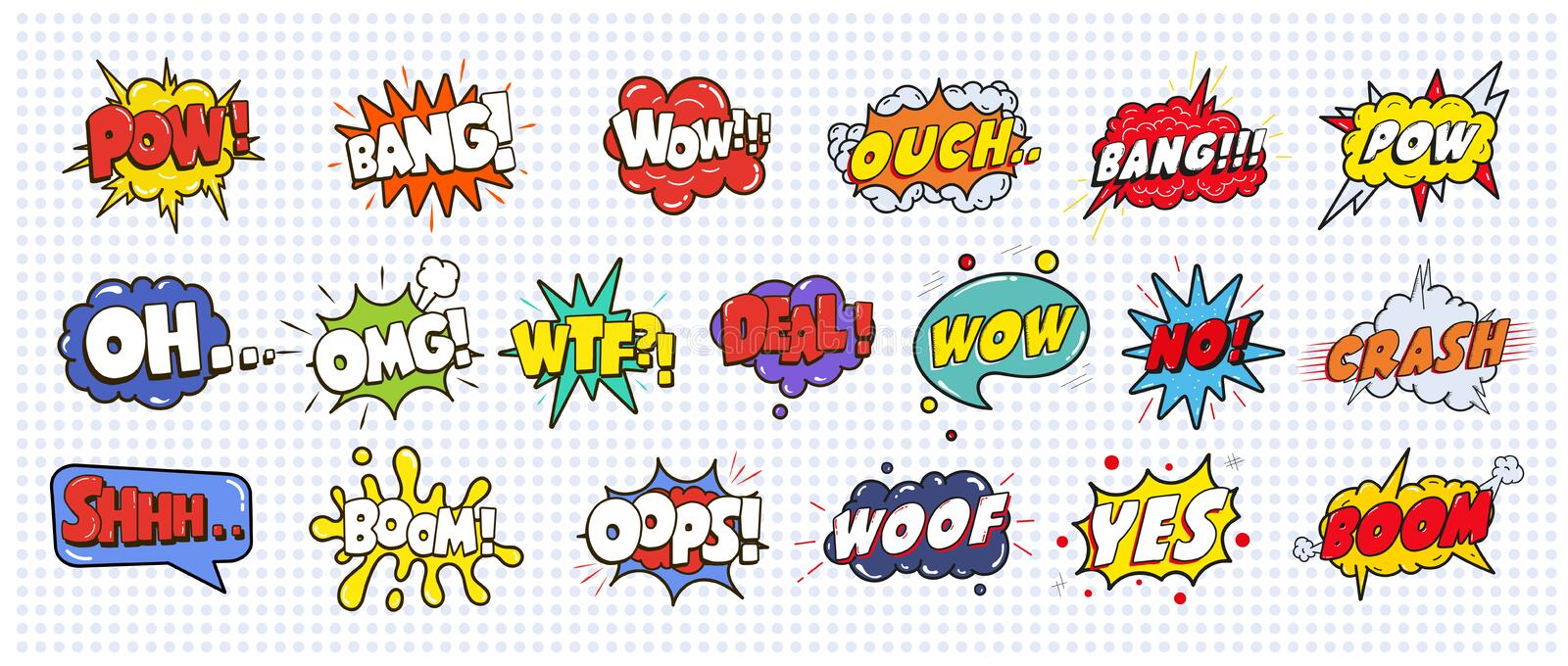 Comic sound speech effect bubbles set on white background illustration. Wow, pow, bang, ouch, crash, woof, no vector illustration