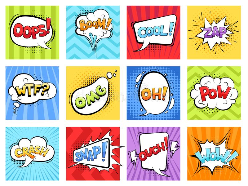 Comic sounds. Cartoon explode stripped burst frames and speech bubbles with words boom vector retro template. Illustration of bubble speech expression vector illustration