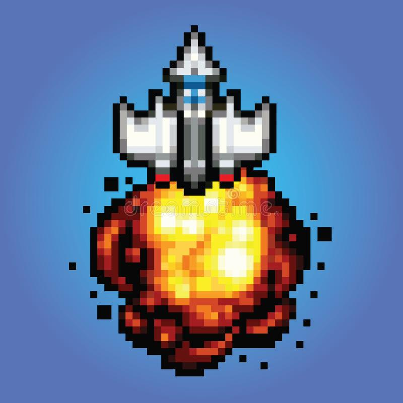 Comic space rocket ship - pixel art Illustration of spaceship blasting off and flying royalty free illustration