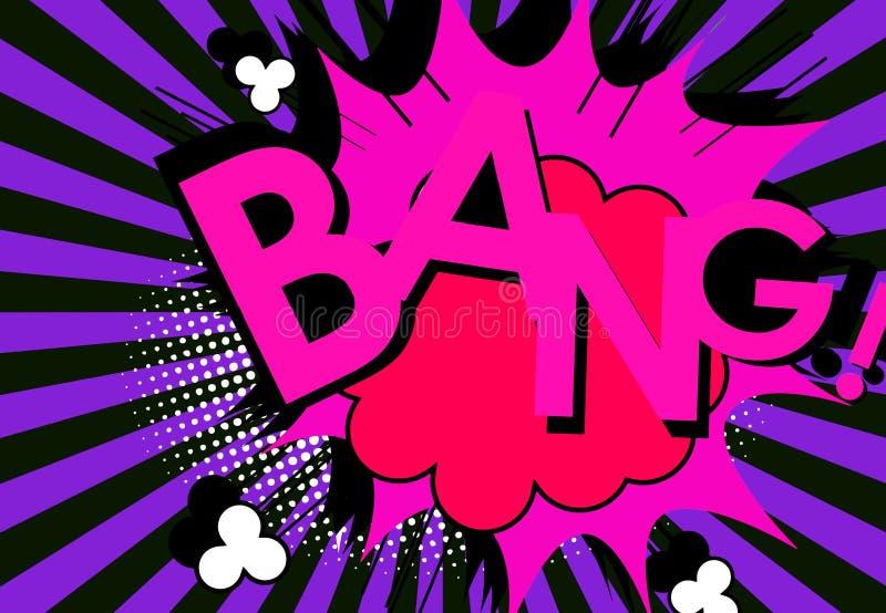 Comic speech bubble, cartoon. Word bang. Vintage style. Illustration design. Message, note, sound, retro, violet, purple, english, creative, graphic stock images
