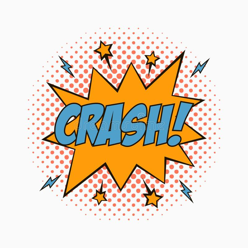 Comic speech bubble with emotions - CRASH. Cartoon sketch of dialog effects in pop art style on dots halftone background. Vector. Comic speech bubble with royalty free illustration