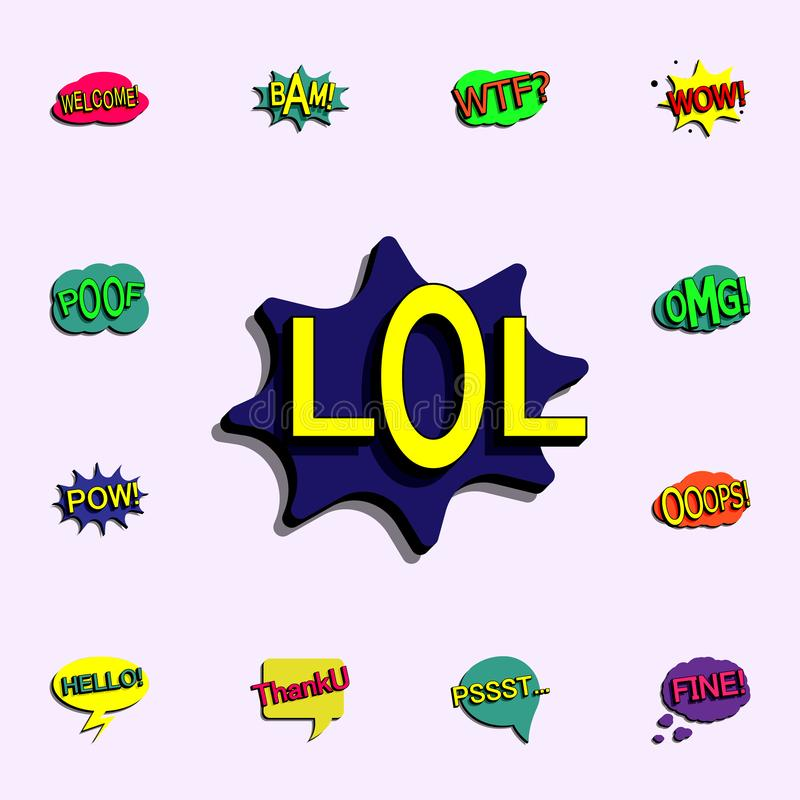 Comic speech bubble with expression text lol icon. comic icons universal set for web and mobile stock illustration