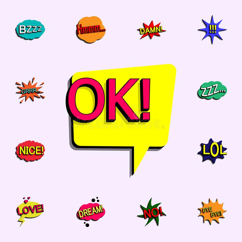 Comic speech bubble with expression text ok icon. comic icons universal set for web and mobile. On color background stock illustration