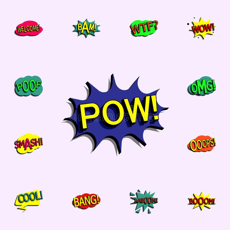 Comic speech bubble with expression text pow icon. comic icons universal set for web and mobile royalty free illustration