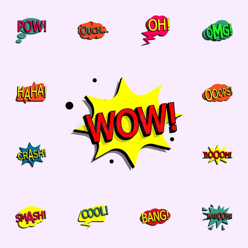 Wow Comic Text icon sign stock vector  Illustration of