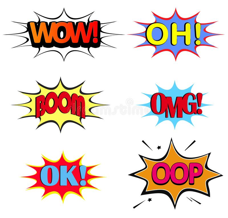 Comic speech bubble on white background. set of comic text pop a royalty free illustration