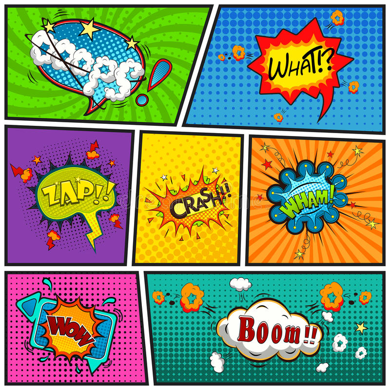 Free Comic Speech Bubbles Background Divided By Lines Vector Stock Photography - 55140642
