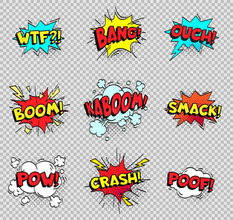Comic speech bubbles. Cartoon explosions text balloons. Wtf bang ouch boom smack pow crash poof popping vector shapes. Comic speech bubbles. Cartoon explosions vector illustration