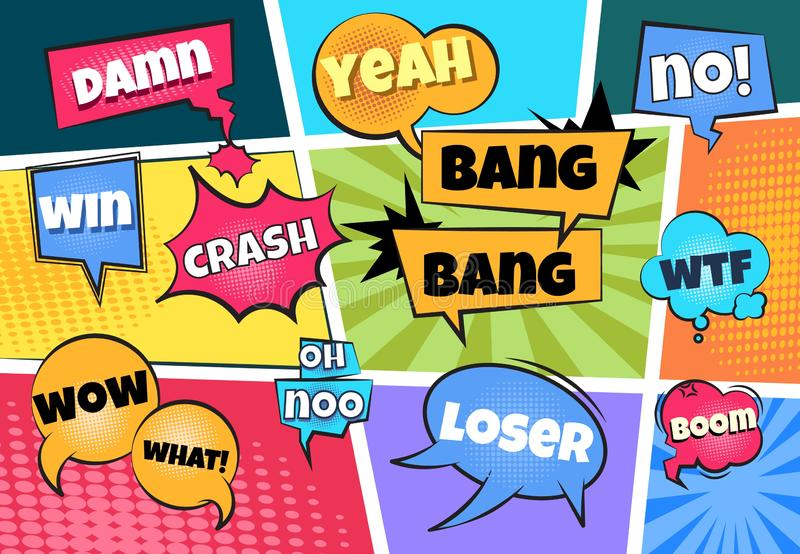 Comic speech bubbles. Cartoon pop art clouds comics page boom bang splash explosion sticker text cloud shape balloon stock illustration