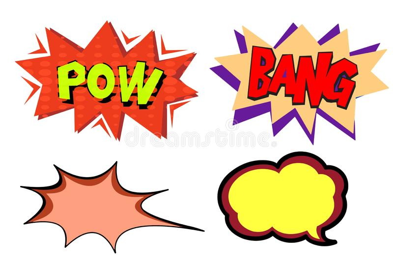 Comic speech - bubbles collection on white background. Illustration design stock photos