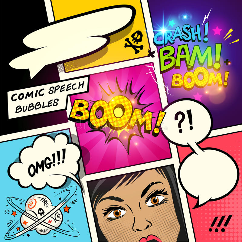 Comic Speech Bubbles and Effects stock illustration