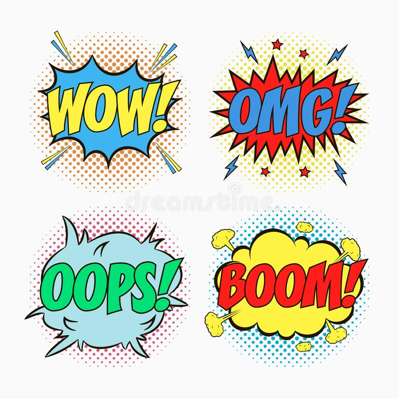 Comic speech bubbles with emotions - WOW, OMG, OOPS And BOOM. Cartoon sketch of dialog effects in pop art style on dots halftone. vector illustration