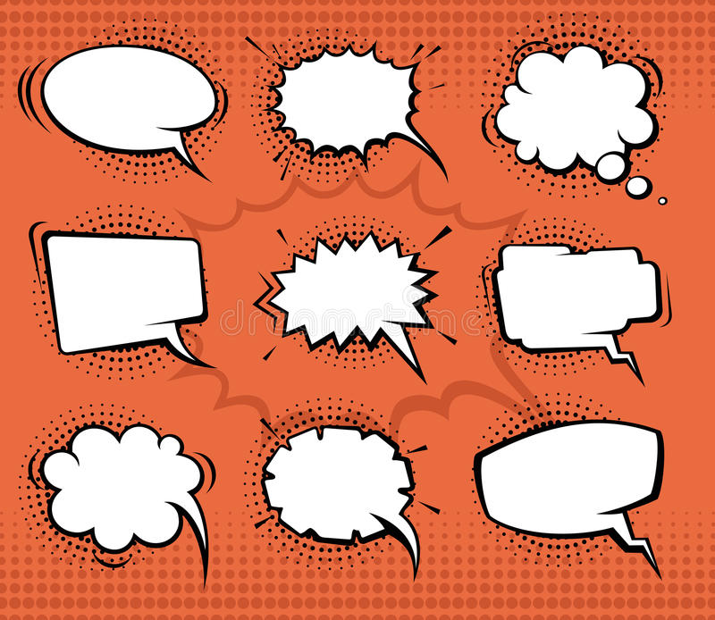 Comic speech bubbles, funny balloons with halftone shadows. Vector set. Illustration. Bubble comic for speech and think, chat bubble communication set vector illustration