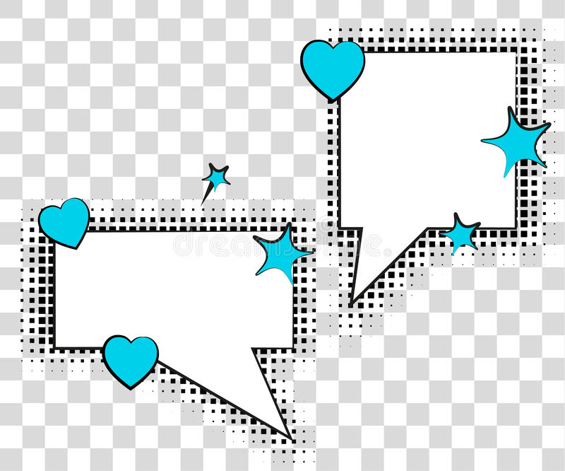 Comic speech bubbles with halftone shadows. Vector illustration eps 10 isolated on background. Comic speech bubbles with halftone shadows. Vector illustration vector illustration