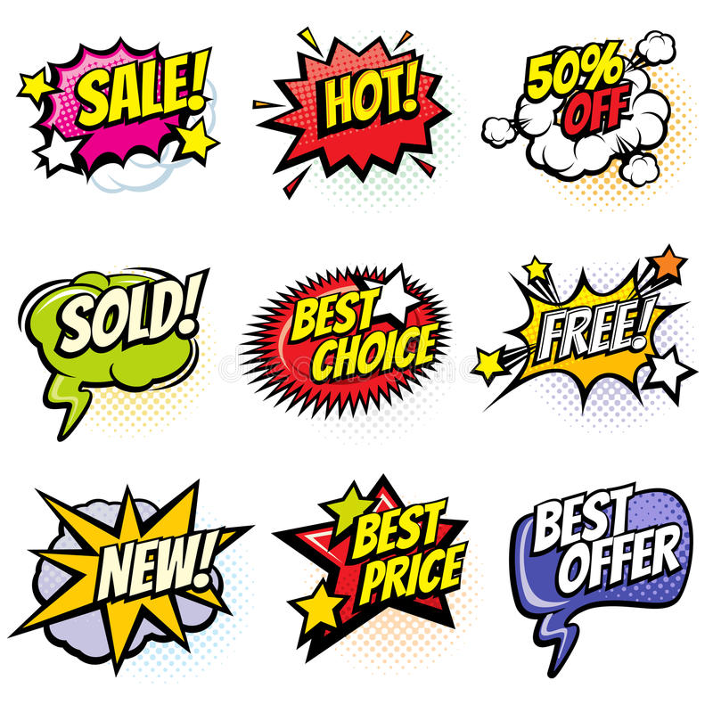 Comic speech bubbles with promo words. Discount, sale and shopping cartoon banners vector set. Discount label and best offer illustration royalty free illustration