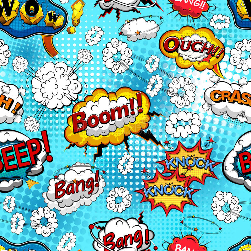 Comic speech bubbles seamless pattern with explosions and sound effects. Vector vector illustration