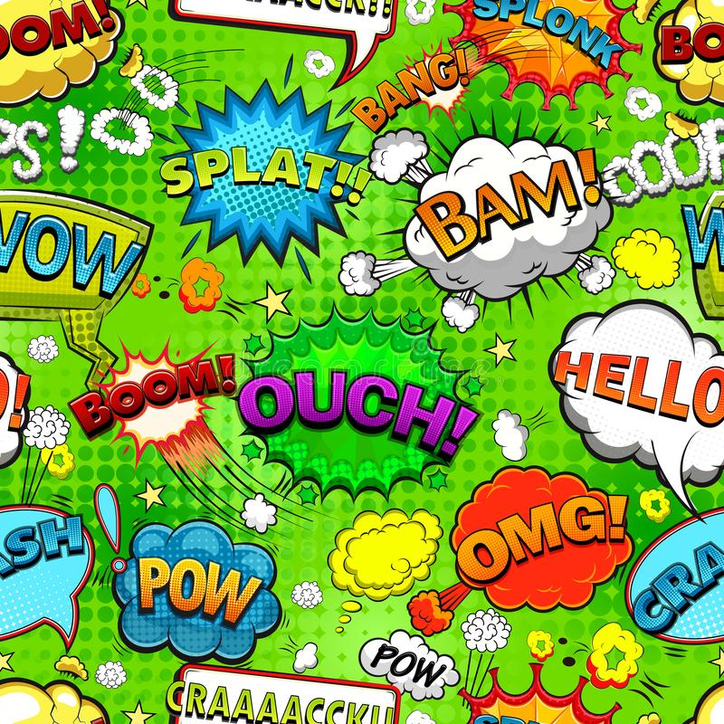 Comic speech bubbles seamless pattern on green background vector royalty free illustration