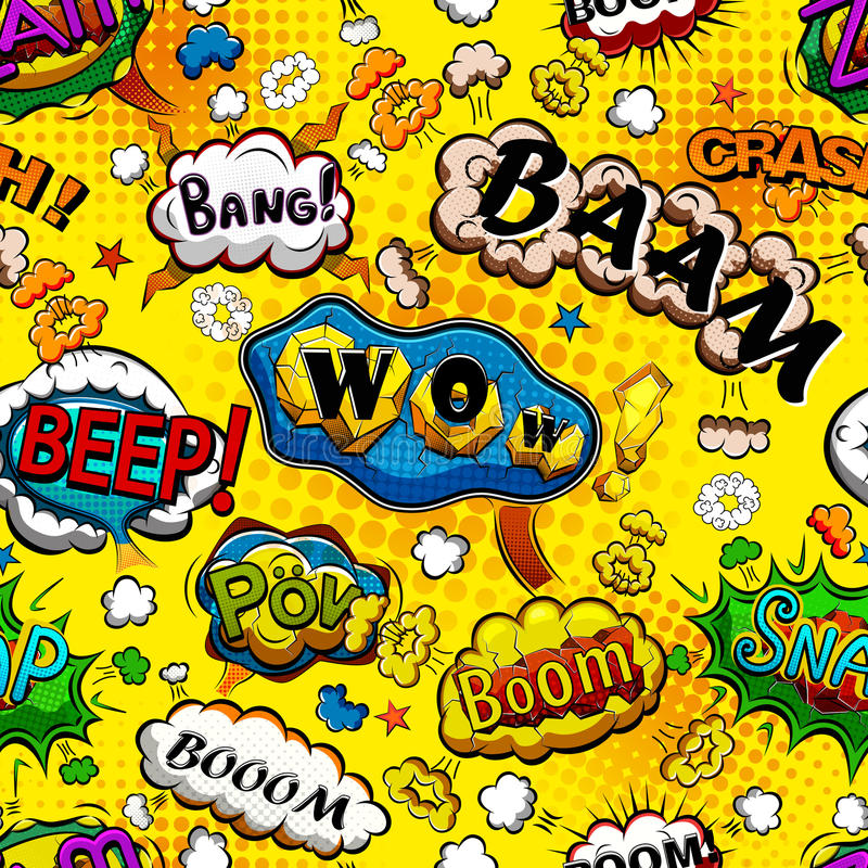 Comic speech bubbles seamless pattern with yellow background vector vector illustration