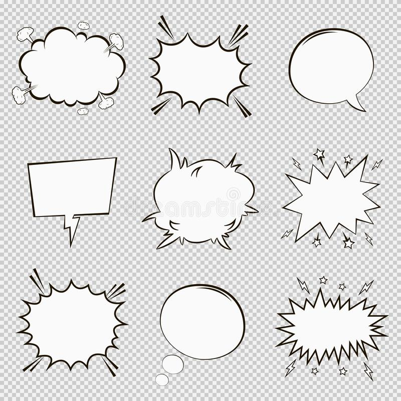Comic speech bubbles set. Cartoon empty dialog elements in pop art style. Vector. royalty free illustration
