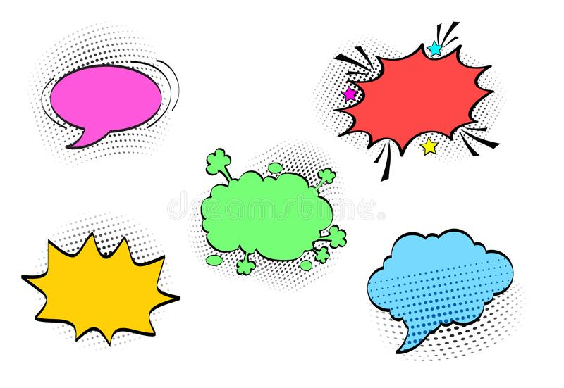 Comic speech bubbles set with different emotions and colours. Vector bright dynamic cartoon illustrations isolated on white. Background vector illustration