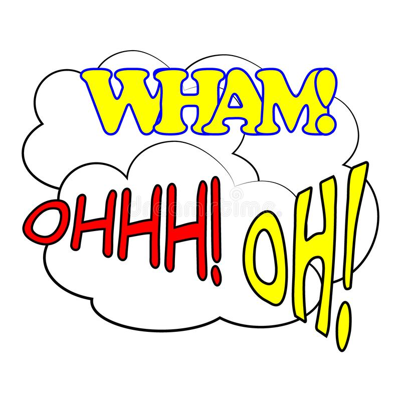 Comic speech bubbles set. Pop Art style sound expression text icons. WHAM. OHHH. OH. Vector. royalty free illustration