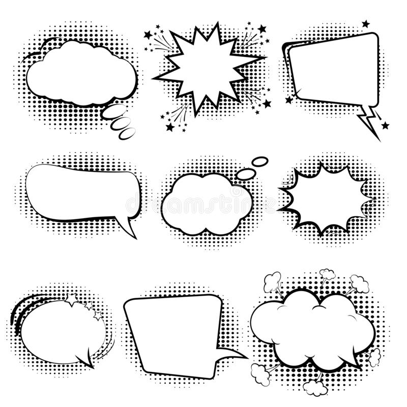 Comic speech bubbles. Set retro of cartoon, speech sketch. Empty dialog Clouds. Sketch black and white. Vintage message on a white royalty free illustration