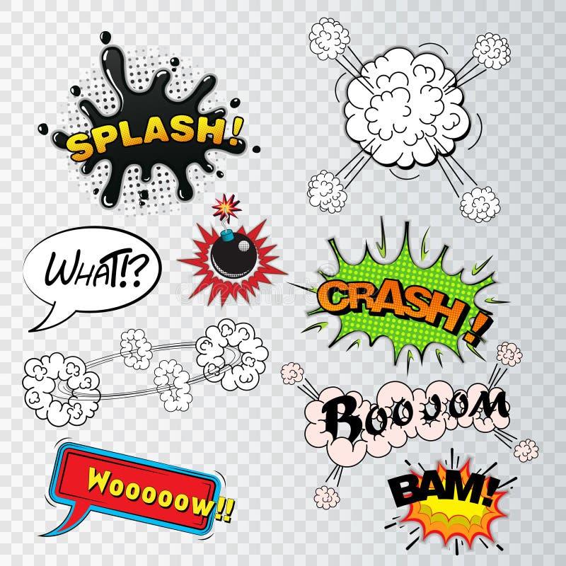 Comic speech bubbles sound effects, cloud explosion vector illustration