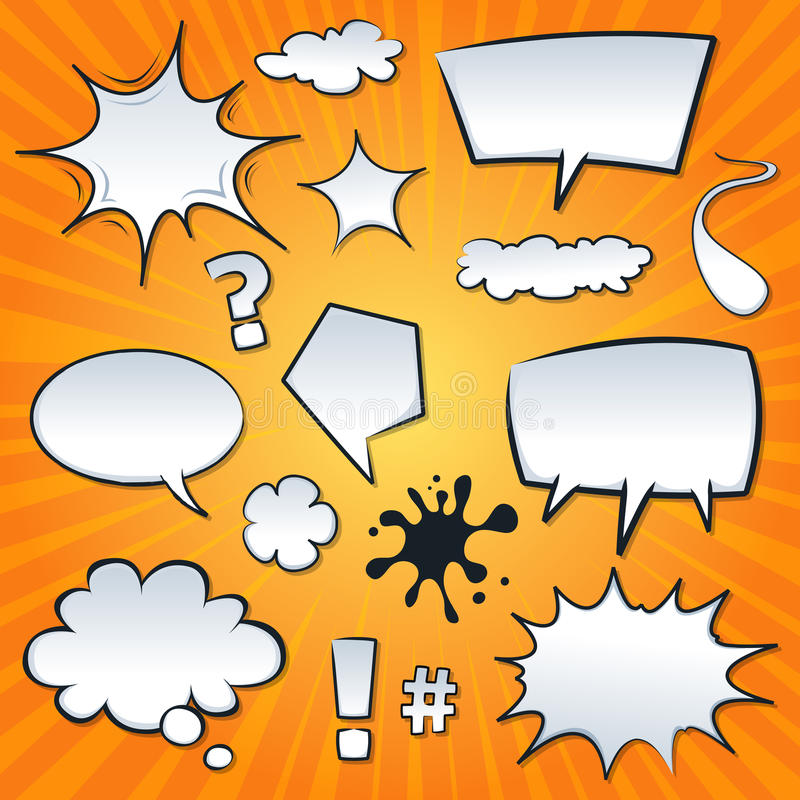 Download Comic Speech Bubbles And Splashes Set Stock Vector - Image: 30839260