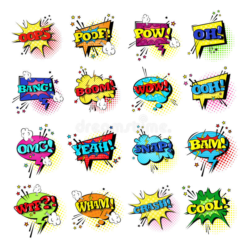 Comic Speech Chat Bubble Set Pop Art Style Sound Expression Text Icons Collection. Vector Illustration royalty free illustration