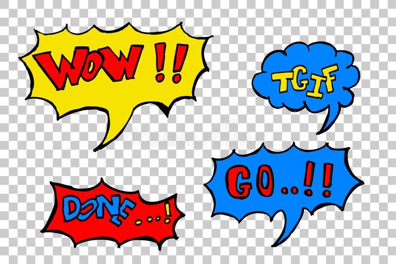 Comic speech (wow,TGIF,done,GO). Hand draw sketch, comic speech (wow,TGIF,done,GO stock illustration