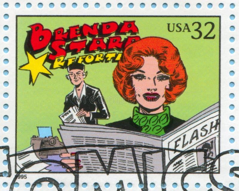 Comic Strips. UNITED STATES - CIRCA 1995: stamp printed by United states, shows Comic Strips, Brenda Starr, Reporter, circa 1995 royalty free stock photo