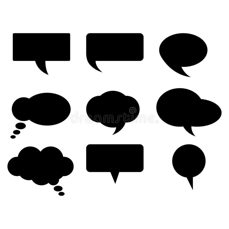 Comic style Black color collection shapes of bubbles. Black bubble word vector.on white background. Comic style bubble speech cartoon set isolated on white vector illustration
