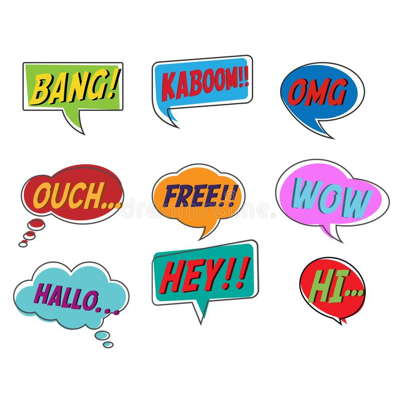 Comic style bubble speech cartoon set isolated on white background. Vector illustration. Pop art of bang, kaboom, OMG, ouch, free, wow, hallo, hey, hi stock illustration