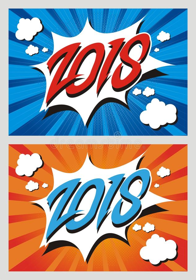 Comic Style Happy New Year 2018. New Year 2018 design template with comic design vector illustration