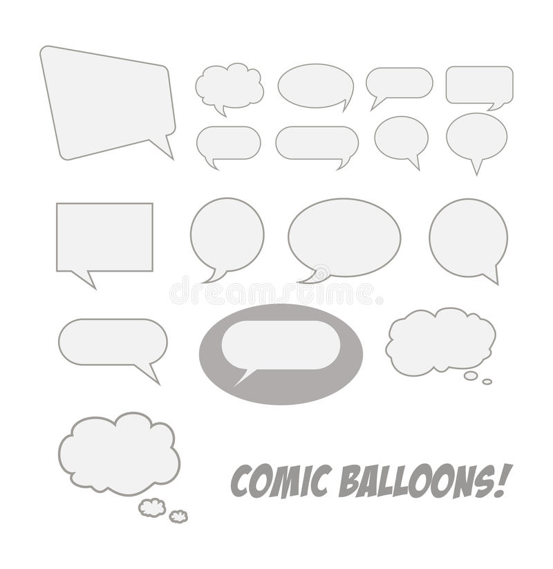 Comic talk balloons. Cartoon outline illustration of comic talk balloons stock illustration