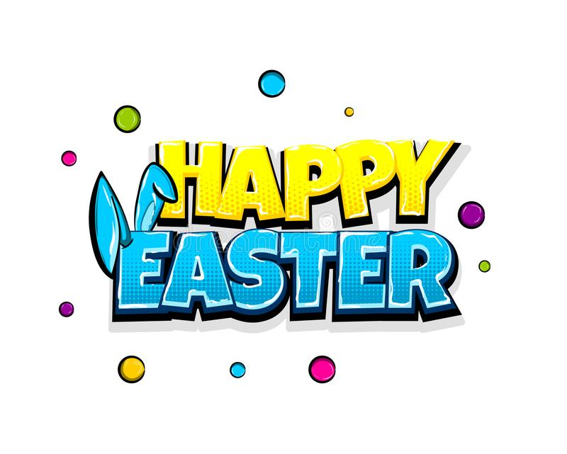 Comic text advertise Happy Easter bunny vector illustration